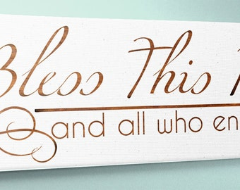 "Wood Sign 9x24 "" Bless This Home """