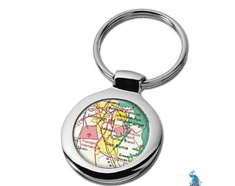 Map Keychain Glen Burnie Maryland Key Ring Fob