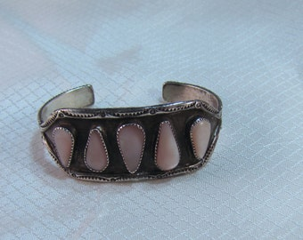 "Navajo Old Pawn Sterling Bangle Bracelet With Pink Mother of Pearl Teardrops, 6"" Bracelet"