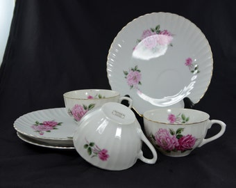 Three Yamaka China Snack Sets Rose Pattern Cup and Plate