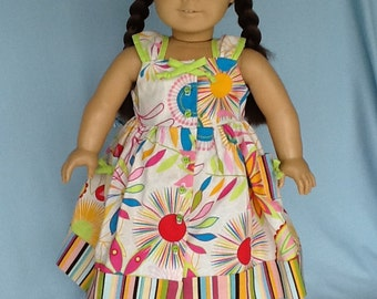 American Girl Doll or 18 inch doll Sundress and hair clip. Bright floral cotton and  Daisy Kingdom  dress pattern .