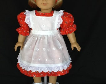 18 inch doll dress, pinafore, and headband.  Fits American Girl Dolls. White eyelet and red calico.
