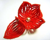 Red Flower Floral Bloom French Beaded Fascinator - Pearl Collection