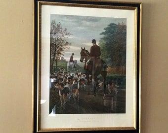 "Vintage Framed 1970s Equestrian Engraving by E.G. Hester ""Evening: Returning to the Kennels"" Originally Published 1877"