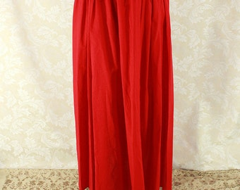 """Renaissance Wench Basic Skirt -- Bright Red Cotton -- Fits up to 40"""" Waist, 39"""" Length -- Ready to Ship"""