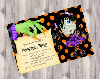DIGITAL Halloween Witch Hand Invitation