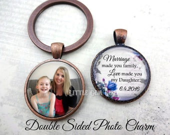 Stepdaughter Adoption gift from Stepmom or Stepdad - Double Sided Custom Photo Key Chain - Daughter in Law Wedding Gift from Mother in Law
