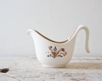 Vintage Rooster Gravy Boat Graveyboat Chicken Ceramic Gravy Boat Serving Dish Farm House Style