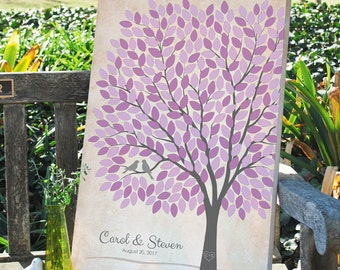 Rustic Wedding Tree GuestBook Alternative, Unique Wedding Tree Guest Book, Personalized Love Birds Poster, 50-300 Guests, Canvas or Print