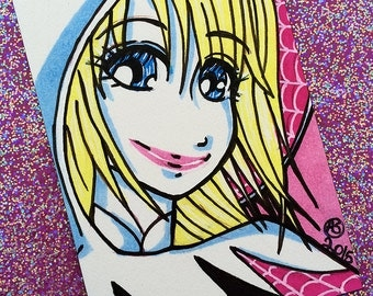 Spider Gwen Stacy Marker Illustration, ACEO 2.5 in x 3.5 in, Anime Manga Style Marvel Fanart, OOAK ATC Sketch Card Small Artwork