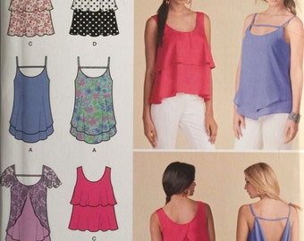 Simplicity 1424, Size 14-16-18-20-22, Misses' Pullover Tops Pattern, UNCUT,Summer Tops, Layered Tops, Overlay, High Fashion, 2014