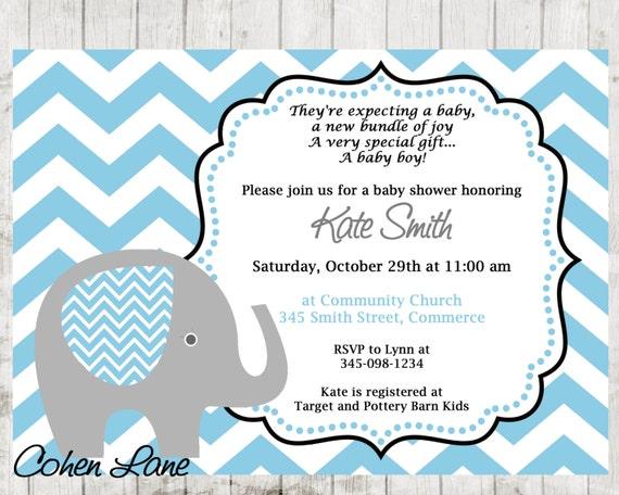 Elephant Invitation Elephant Baby Shower Invitation Blue Elephant