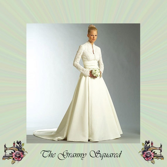 Wedding Gown Patterns With Sleeves: Long Sleeve Bridal Gown Pattern With Train And Sash Vogue