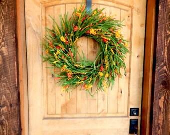 Fall Wreath-Fall Door Wreaths-ORANGE & YELLOW WILDFLOWER Twig Wreath-Country Chic Home Decor-Housewarming Wreath-Scented Wreath-Gifts