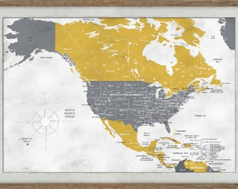 Push Pin America Map, Gift for Him, Gift for Wife, Paper gift, Rustic frame, Canada and US map, Map for wife
