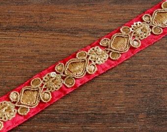 1 Yard Red Silk Fabric Trim-Golden Thread Embroidered Trim-Orange Silk Sari Border Trim-Crazy Quilt Trims-Orange Silk Ribbon By The Yard