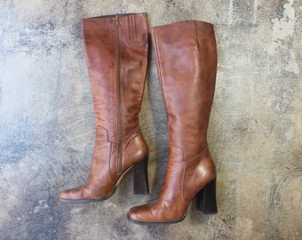 8 1/2 / Heeled Leather BOOTS / Rich Brown Leather Extra Tall Boots / Women's Vintage 90's Shoes