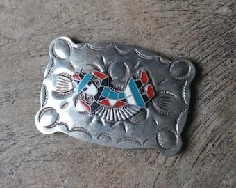 1970's Belt Buckle / Kachina Belt / Vintage Nickle Silver Phoenix Arizona Belt Buckle