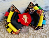 Stacked Boutique Harry Potter Hairbow with Hogwarts House Shield Felt Clip Center - ComicCon Hair Clip - HandSewn Bow - Cosplay - RTS