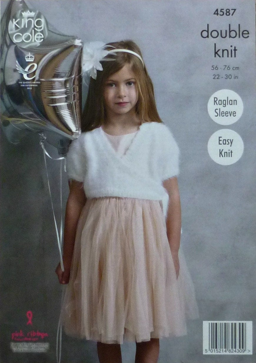 Knitting Pattern Wrap Over Cardigan : Girls Knitting Pattern K4587 Girls Easy Knit Short Sleeve Wrap Over Ballerina...