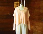vintage Saks Fifth Avenue peach silk blouse / size small medium