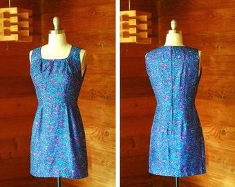 20% OFF FALL SALE / vintage 1960s dress / 60s Georgia Wells blue silk watercolor floral print mini dress / size small