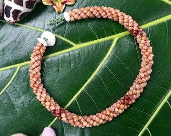 Shell Bracelet Puka Shell Jewelry Hawaiian Three Strand Rope Kahelelani Shell Bracelet-Pink Burgundy-Rare Hawaiian Shell Jewelry