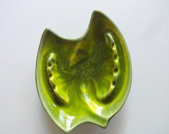 Vintage Cal Style Lime Green Ceramic Ashtray 1970s