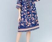 Blue Cotton Oversize Loose Long dress