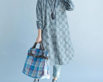 cotton Loose Long sleeved shirt Women Gray gown
