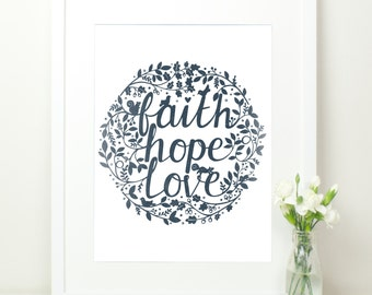 Faith Hope Love Print. Dark Navy Blue with Hand Lettering. Flora and Fauna. 12x16. 1 Corinthians 13:13. Mint Hand Lettered Print. Birds