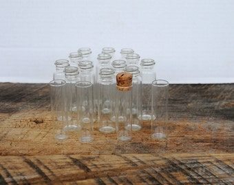 Vintage Glass Round Cylinder Shaped Empty Bottles Set of 16