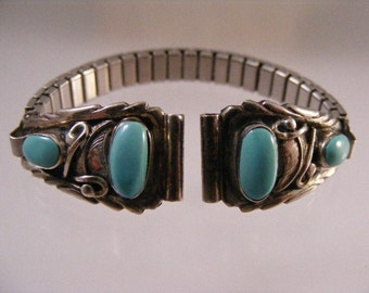 Ladies Vintage  Native American Sterling Silver Turquoise Watchband.....  Lot 4321
