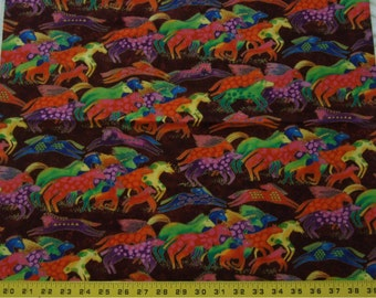 OOP Laurel Burch DANCING HORSES Fabric Medium Bright Jewel Tones on Burgundy Fat Quarter