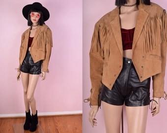 80s Tan Suede Fringe Jacket