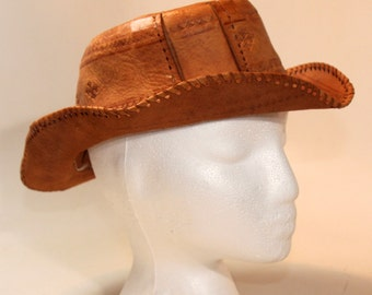 "Vintage circa 1970's ""Crocodile Dundee"" hand-made leather hat"