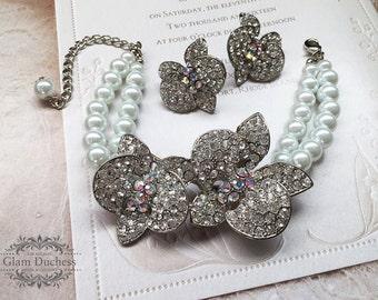 Bridal jewelry set, Bridal earrings, bridal bracelet, Wedding jewelry, Pearl bracelet, wedding earrings, AB stone jewelry, Pearl earrings