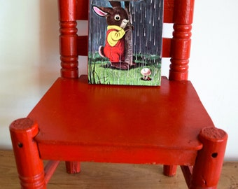 Primitive Children's Wooden Chair Painted Red