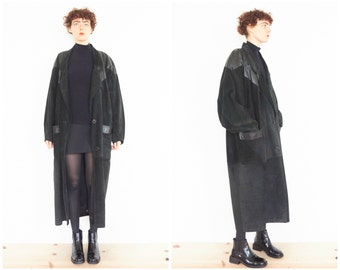 80s Long Black Leather Suede Tapered Coat