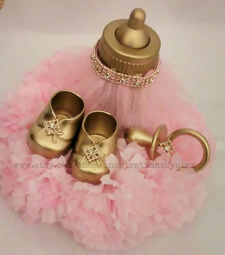 Royal centerpiece pink and gold silver