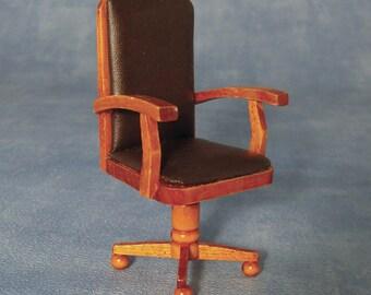 Dolls House Miniature Dark Wood Executive Chair