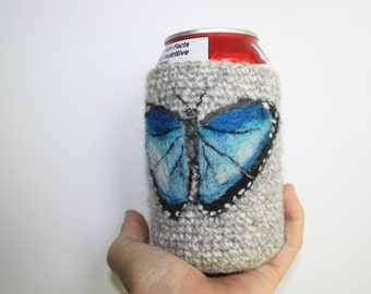 Blue butterfly can cozy Needle felted cooler