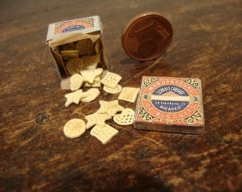 miniature dollhouse metal box with cookies