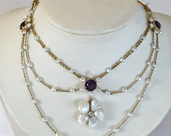 CLEARANCE SALE Amethyst 14k Gold Pearl festoon necklace, Was 1200 Diamond Vict. Edw. Vintage Antique Valentines February birthstone June