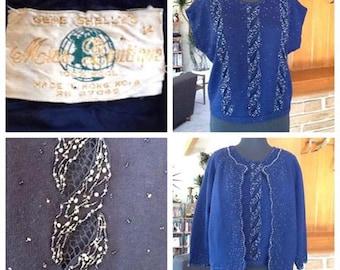 Gene Shelly 2 Piece Navy Sweater Set - Medium / Large