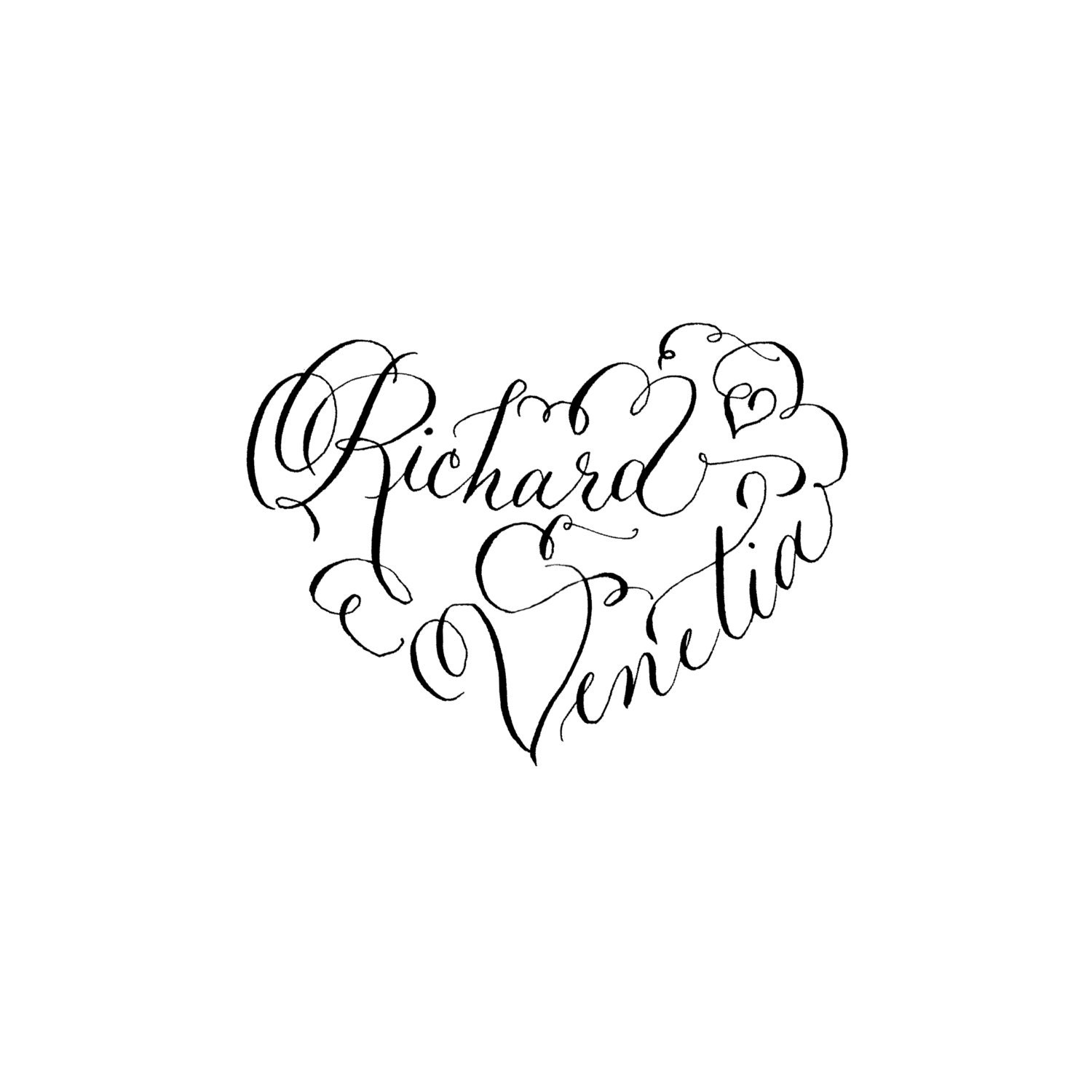 Calligraphy Heart Design Hand Lettered Custom By Penpaintink