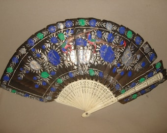 "sale - Antique Hand Painted FEATHERS FAN with Bone Sticks ~ 16"" wide"