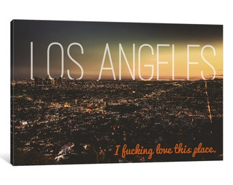 iCanvas L.A. Love Gallery Wrapped Canvas Art Print by 5by5collective