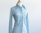Light Blue White Geo / Geometric Pattern Blouse 70s Secretary Career Wear Womans Size Small - S