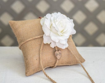 White Rose ring bearer pillow. Customize with flower and bride and groom initials